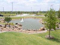 Retention Pond with Fountain and Lights