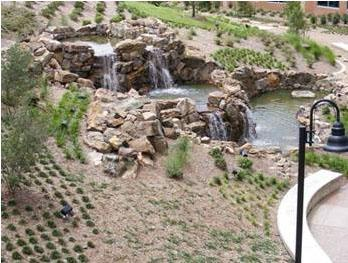 Three-tiered Water Feature using over 150 tons of Native Rock